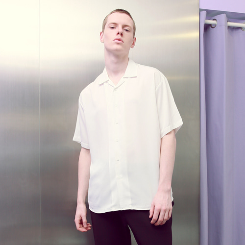 [언아웃핏]UNISEX MINIMAL OPEN COLLAR SHIRTS WHITE