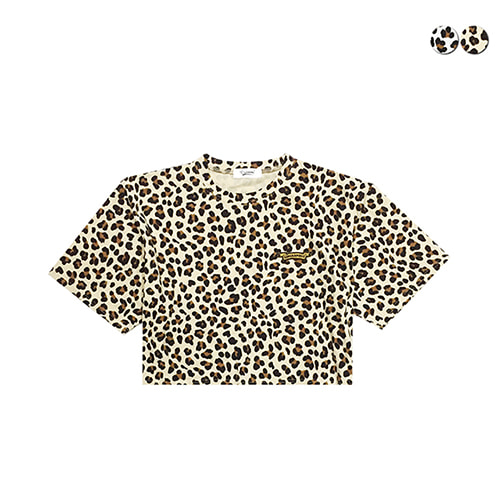 [GINGHAMBUS]Leopard Oversized Crop Top(2color)(unisex)