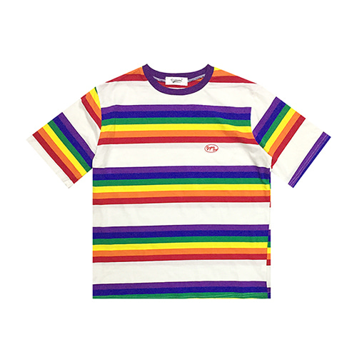 [GINGHAMBUS]Rainbow Striped T-Shirt(unisex)
