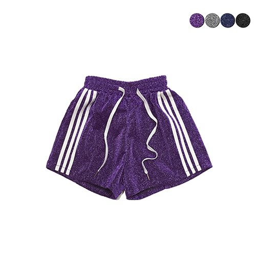 [GINGHAMBUS]Metallic Glitter Track Shorts(4color)