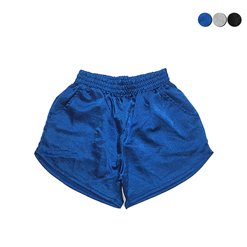 [GINGHAMBUS]Shining Satin Gym Shorts(3color)