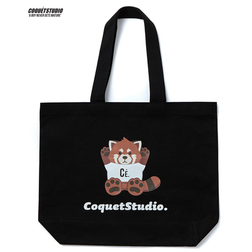 [Coquet studio]Lesser Panda Logo Canvas Ecobag Black