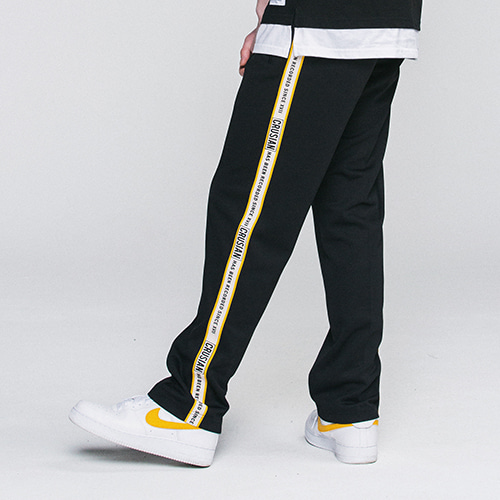 [PINK CRUSIAN] Crusian Logo Tape Track Pants BLK PCB2PT001 (UNISEX)