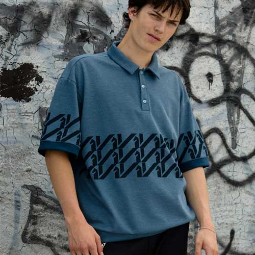 [KILIJARO]KILI PATTERN POLO - BLUE