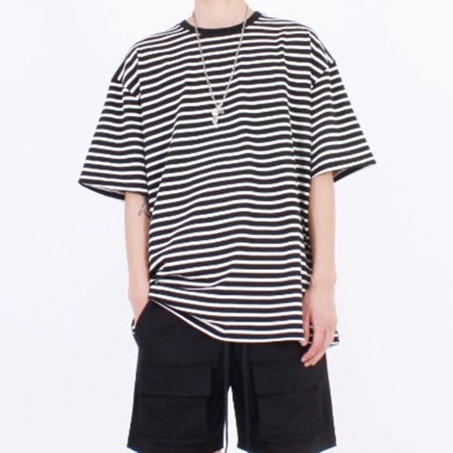 [Nar_Yoke] Overfit T-Shirt - Black Stripe