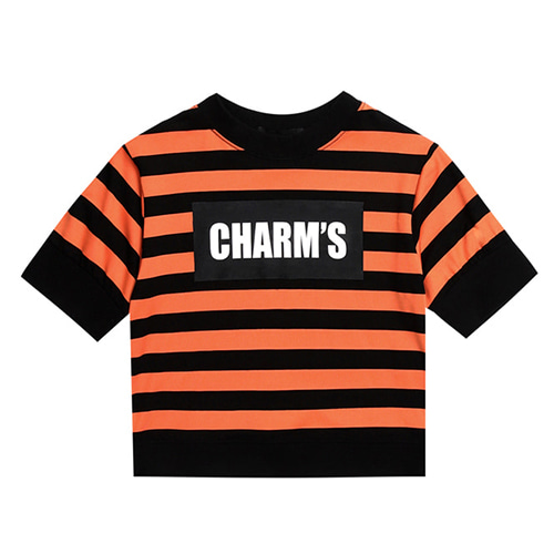 [CHARM'S] CHARM'S STRIPE LOGO CROP T - OR