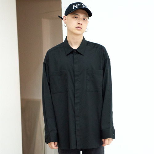 [NOT N NOT]NOT COOL OVER 2-POCKET SHIRTS - BLACK