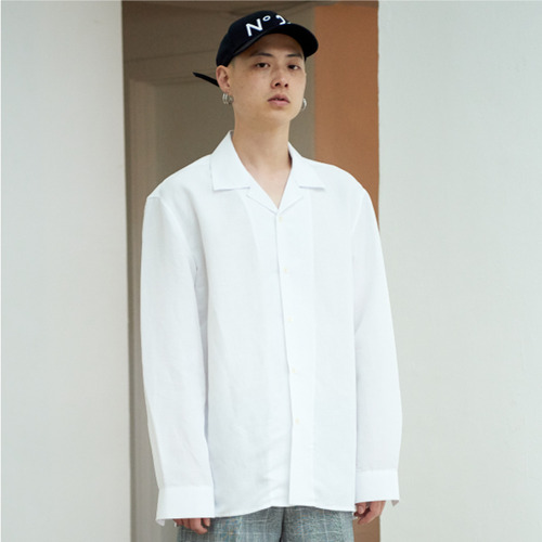 [NOT N NOT]NOT COOL LINEN OPEN COLLAR SHIRTS - WHITE