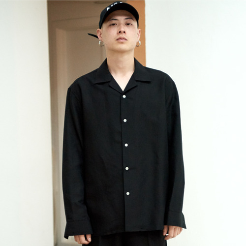 [NOT N NOT]NOT COOL LINEN OPEN COLLAR SHIRTS - BLACK
