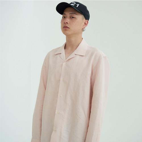 [NOT N NOT]NOT COOL LINEN OPEN COLLAR SHIRTS - PINK