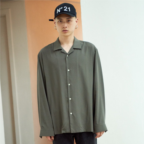 [NOT N NOT]NOT TENCEL OPEN COLLAR SHIRTS - KHAKI