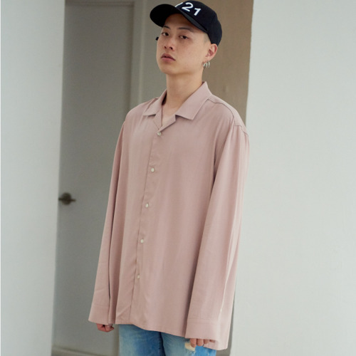 [NOT N NOT]NOT TENCEL OPEN COLLAR SHIRTS - PINK