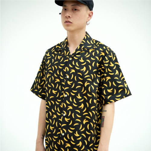 [NOT N NOT]BANANA OPEN COLLAR SHIRTS - BLACK