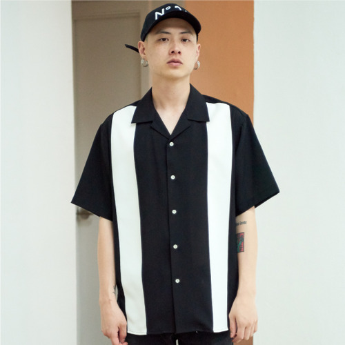 [NOT N NOT]BOWLING OPEN COLLAR SHIRTS - BLACK