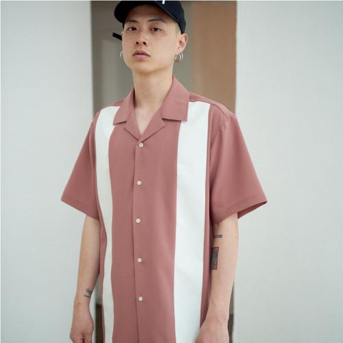 [NOT N NOT]BOWLING OPEN COLLAR SHIRTS - PINK