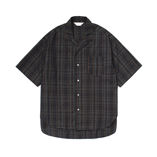 [LAFUDGESTORE]Over Wide 1/2 Check Shirt