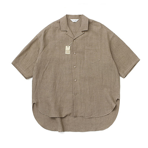[LAFUDGESTORE][프리미엄] Over Wide Linen 1/2 Shirt_Brown