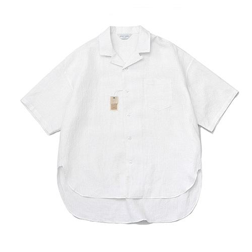 [LAFUDGESTORE][프리미엄] Over Wide Linen 1/2 Shirt_White