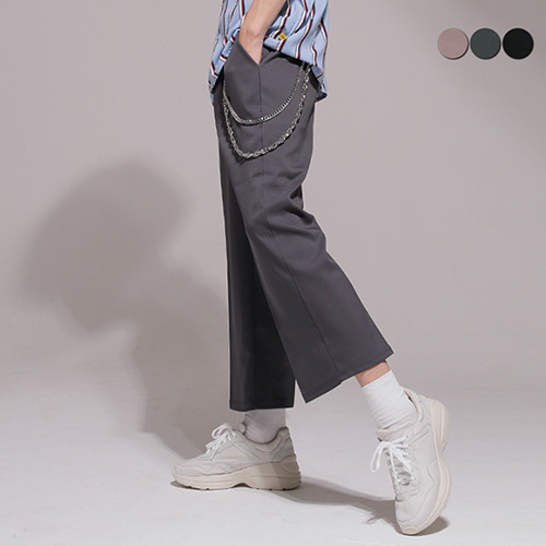 [GINGHAMBUS]WIDE CROP SLACKS(3color)