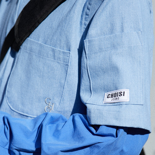 [choisi]Basic Silhouette Denim Shirt, Light Indigo