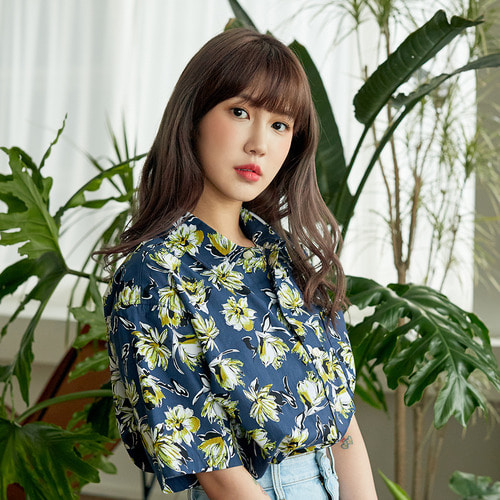 [OROR] R3-001 FLOWER SHIRTS - NAVY
