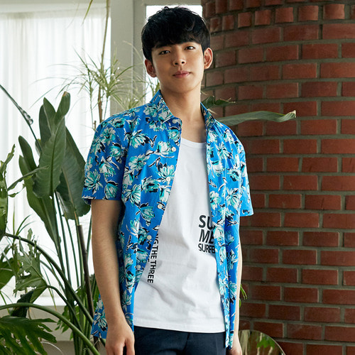 [OROR] R3-003 FLOWER SHIRTS - BLUE