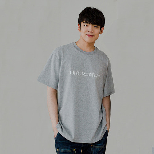 [OROR] R4-006 NO POCKET LOGO TEE - GRAY