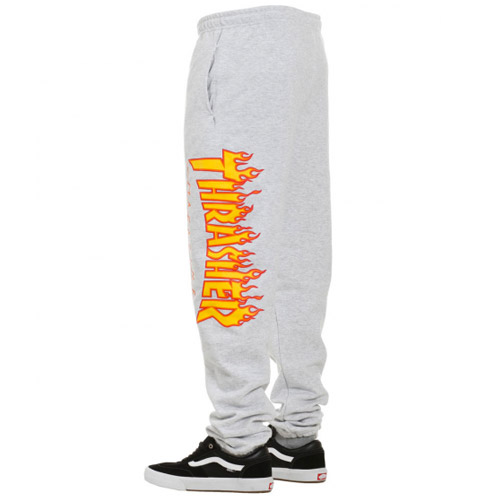 [Thrasher] Flame Sweatpants - Grey