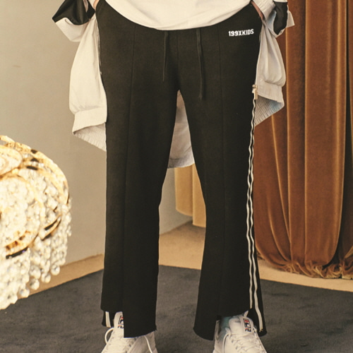 [199XKIDS] Terry cutting track pants (Black)