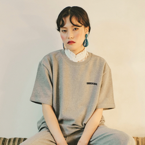 [199XKIDS] TERRY BASIC T-SHIRTS (GRAY)