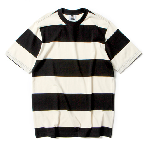 [앱놀머씽] Wide Stripe T-Shirt (Black/Ivory)