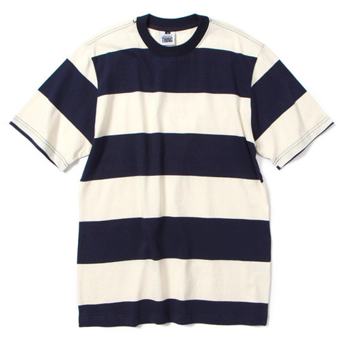 [앱놀머씽] Wide Stripe T-Shirt (Navy/Ivory)