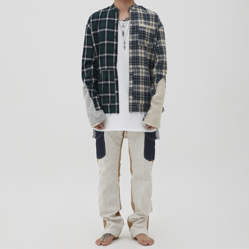 [Innovant] unbalance check shirt (green)