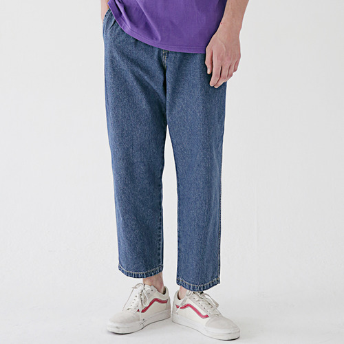 [MASSNOUN] NOR WIDE ONE TUCK DENIM SLACKS MSEJP013-BL