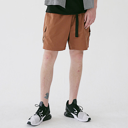 [MASSNOUN] SL LOGO CAMP CARGO SHORT PANTS MSESP003-BR