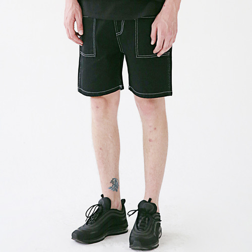 [MASSNOUN] STICH POCKET SHORT PANTS MSESP005-BK