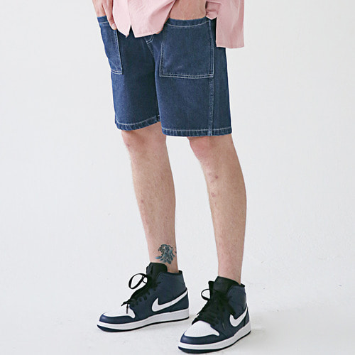 [MASSNOUN] STICH POCKET SHORT PANTS MSESP005-BL