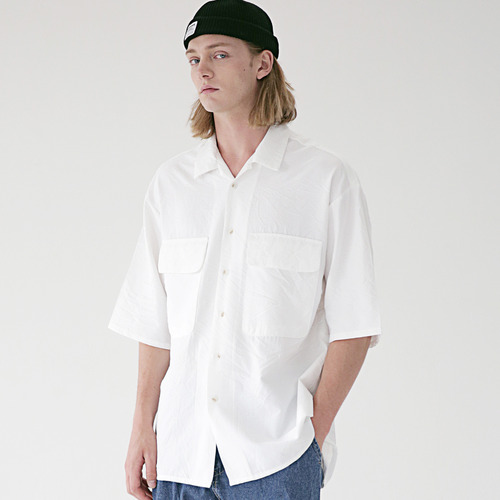 [MASSNOUN] TWO POCKET SOFT OVERSIZED SHIRTS MSEST006-WT