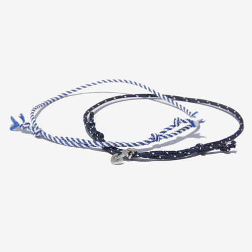 [RUSHOFF]Unisex Marine Anchor Fabric 2 Bracelet Set/ 마린 닻 페브릭 팔찌세트