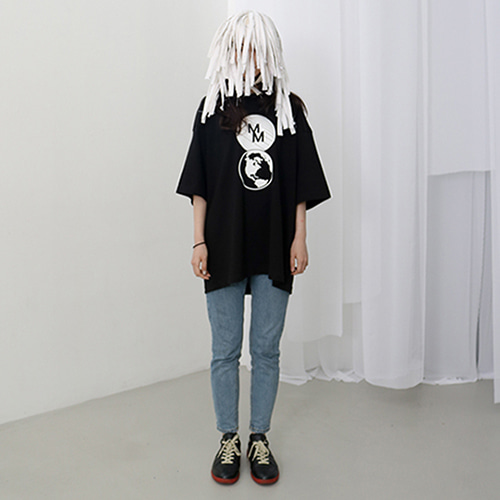 [MUTEMENT]BLACK MM GLOBE HALF T-SHIRTS