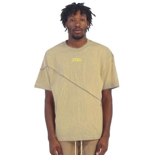 [EPTM] GRAPHIC SPLIT BOX TEE (ACID TAN)