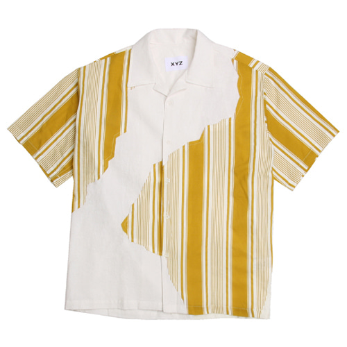 다이나믹듀오 - 개코 착용 [XYZ] UNISEX STRIPED PATCH SHIRTS - MUSTARD