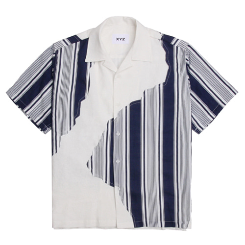 [XYZ] UNISEX STRIPED PATCH SHIRTS - NAVY