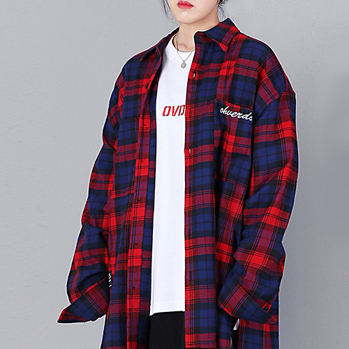 [OHVERDOSE]OVER-FIT 2-POCKET LOGO CHECK SHIRTS NAVY