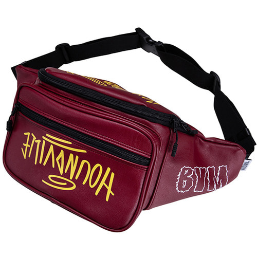 [하운드빌] SEOUL artificial leather waist bag wine