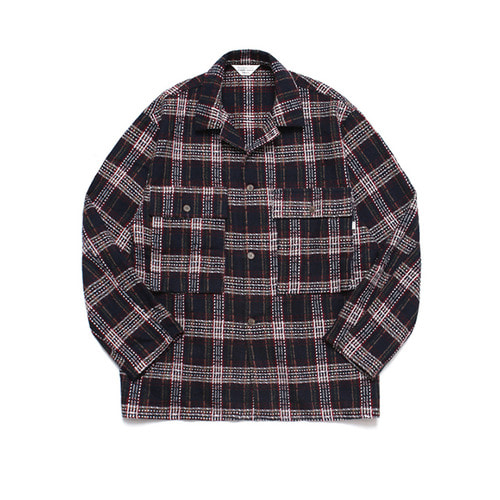 [LAFUDGESTORE] Wide Wool Check Trucker Jacket