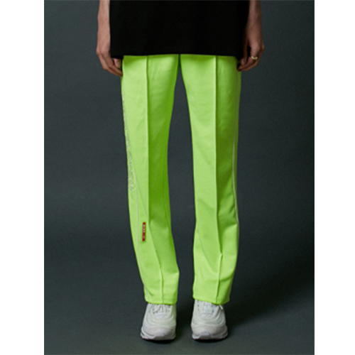 [Nine Eleven] NE side-lined training pants - neon green