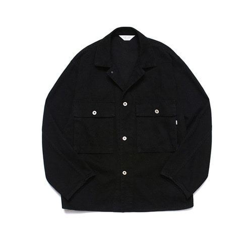 [LAFUDGESTORE] Wide Twill Trucker Jacket Black