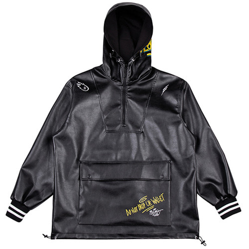 [하운드빌] SEOUL artificial leather jacket black