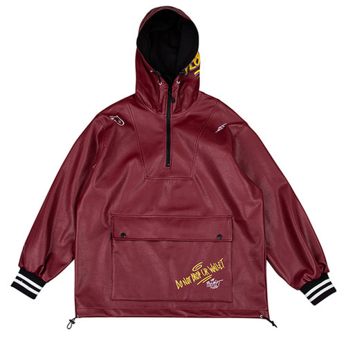 [하운드빌] SEOUL artificial leather jacket wine